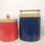 HT0903 Eco friendly traditionally handpainted vietnamese lacquered bamboo ice buckets in gray