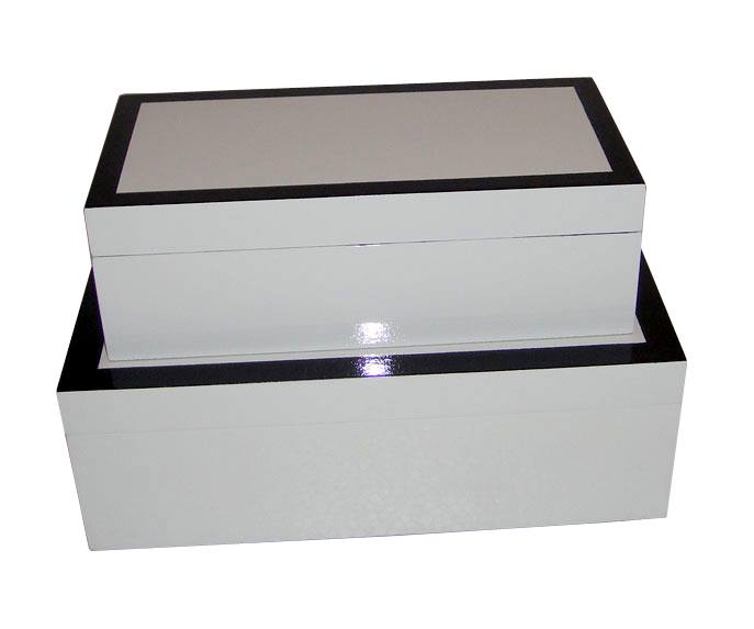 HT3337 White and black shinny lacquer box