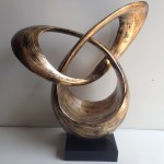 HT3604 Silver leaf orbit contemporary sculpture