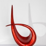 HT3610 red silver leaf wood sculpture