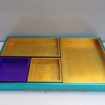 HT9433 MDF lacquer metallic bath tray set