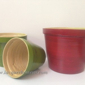 HT0501 Coiled bamboo lacquer gardern planters