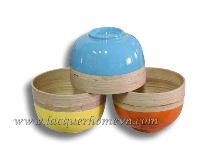 HT5079 Small bamboo rice bowl with foot