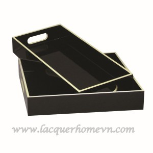 HT6173 black lacquer wood serving tray