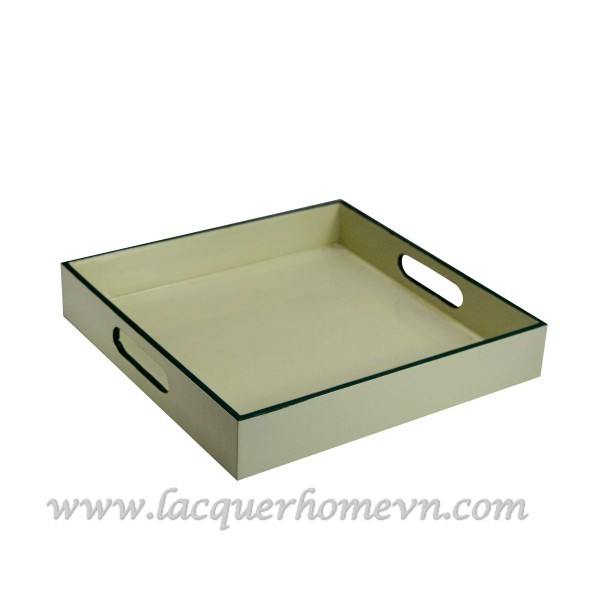 HT6181 cream lacquer wood serving tray