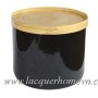 HT0121 round lacquer table with bamboo tray lid