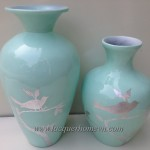 HT6006 Vietnam lacquer decor vases with silver leaf finishing