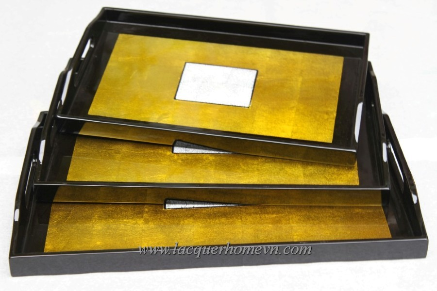 HT6745 lacquer silver leaf serving tray set