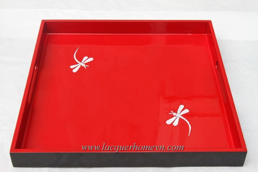 HT6752 Red lacquer tray with dragon fly eggshell inlay