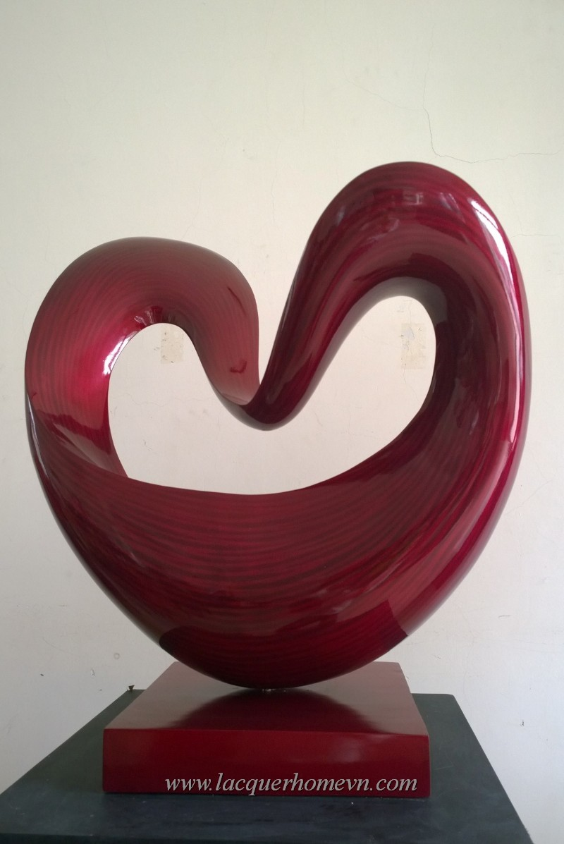 HT3618-Heart-shape-fiber-wood-lacquer-sculpture