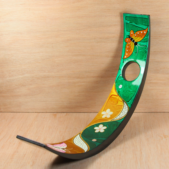 HT9021 wood lacquer wine bottle stand with hand painting
