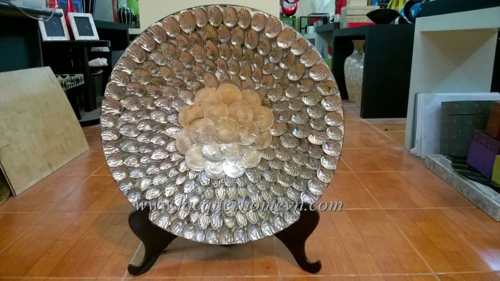 HT0604 Bamboo decor dish with mother of pearl shell inlaid