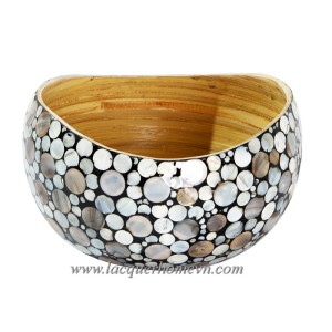 HT0607 Coiled bamboo mother of pearl inlaid decor bowl