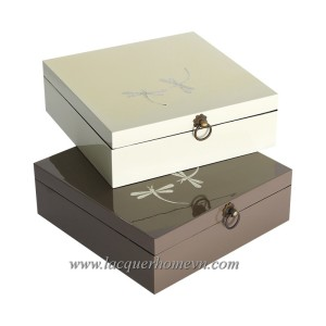 HT3370 MDF lacquer tea box with dragon fly eggshell