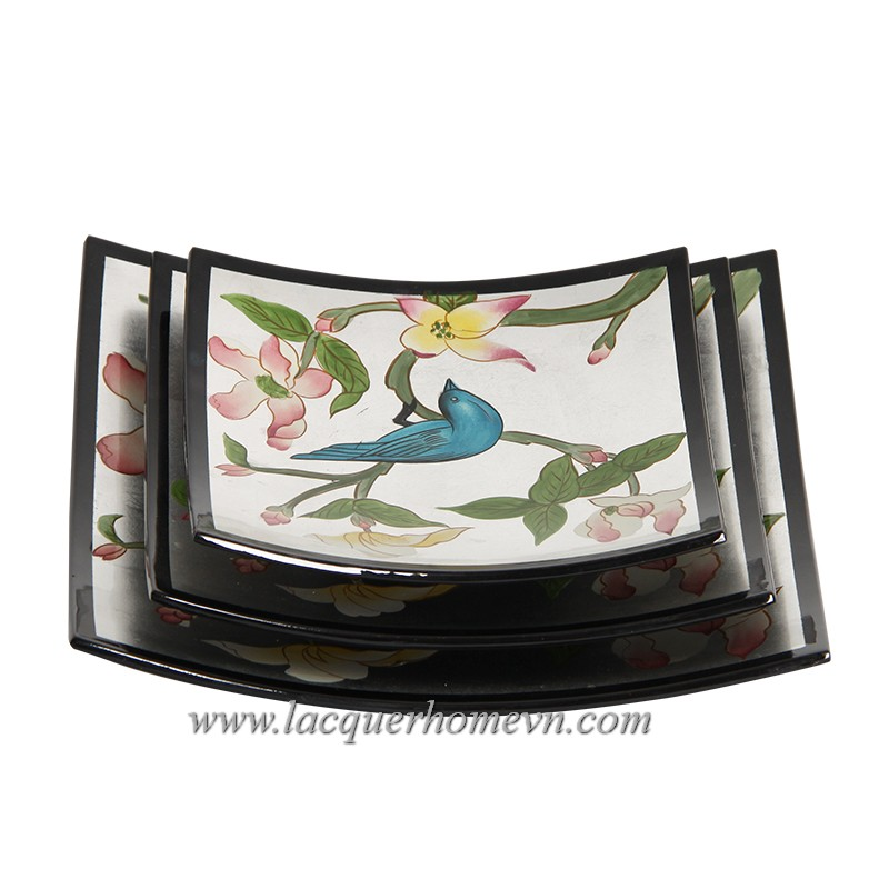 HT7439 MDF lacquer plate with hand painting