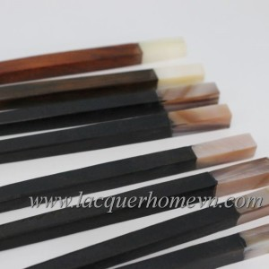 HT0807 wood lacquer chopsticks with mother of pearl