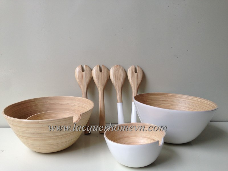 HT5230 Vietnam bamboo salad bowl with servers