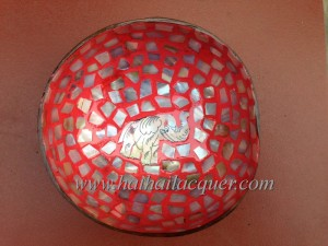 HT5913 Vietnam lacquer mother of pearl coconut bowl