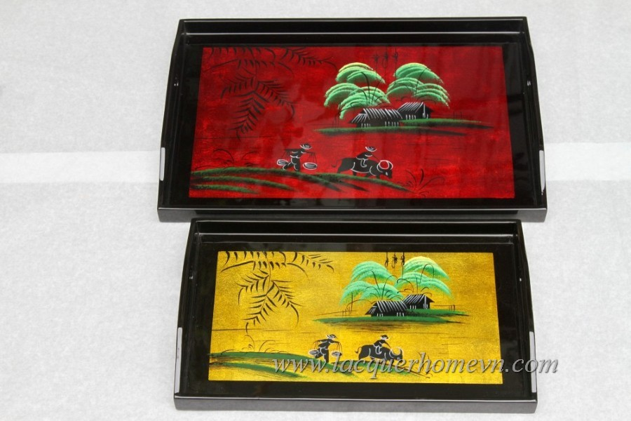 HT6010 Vietnam lacquer tray with hand painting in metallic color