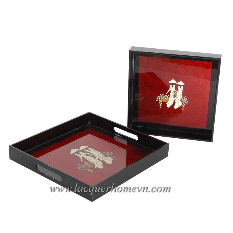 HT6020 silver leaf lacquer tray with hand painting
