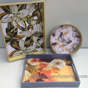 HT6105 Lacquer serving tray with print paper