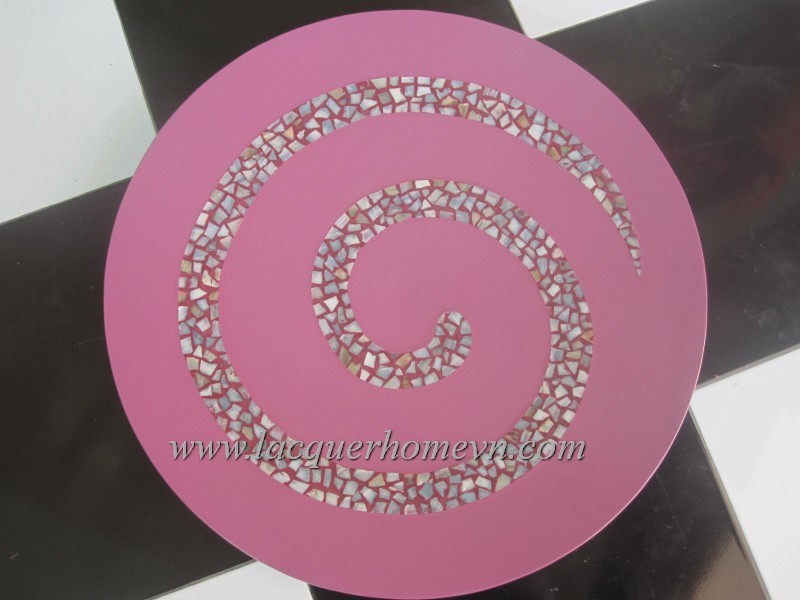 HT0600 Lacquer decor plate with mother of pearl inlaid