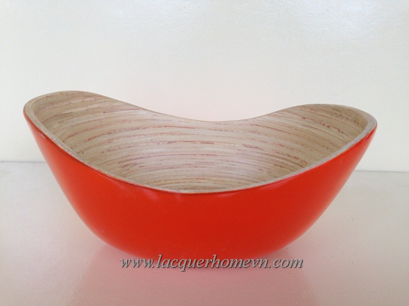 ... HT5032 Oval Red Bamboo Serving Bowl