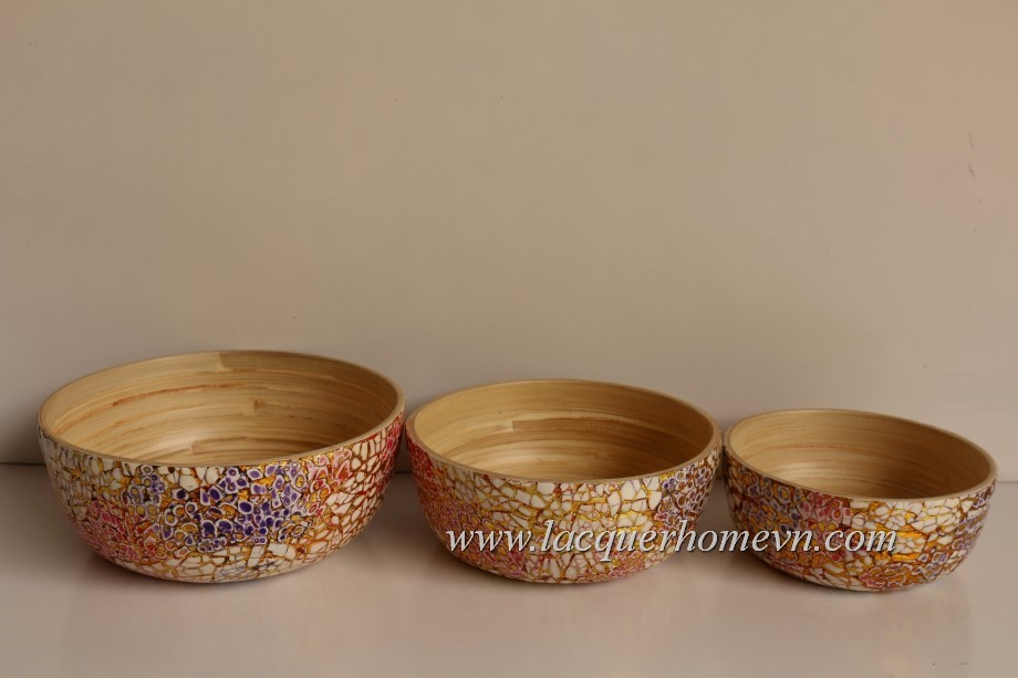 HT5601 Metallic lacquer eggshell crackle bamboo bowl