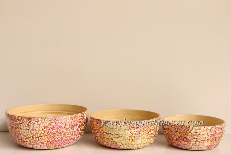 HT5609 Metallic eggshell bamboo serving bowl